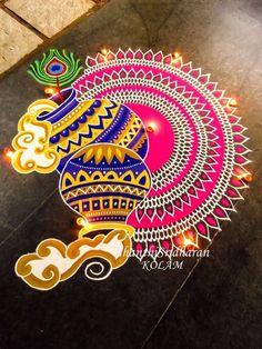#pink}blue#krishnajayanthi#mandala#kolam