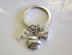 Initial Softball keychain Initial baseball by CharmsFromHanna