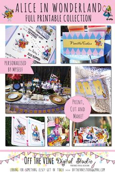 Complete Digital Printable Alice in Wonderland Collection. Available now on Etsy! Includes Personalised Invitation, Bunting, Banner, Thank You Notes, Cupcake Toppers, and more! Click on the link for more information.   #alice #aliceinwonderland #printable #aliceparty #teaparty #babyshower #birthday #bridalshower #diy #mathatter Bridal Shower, Baby Shower, Alice In Wonderland Theme, Diy Photo Booth, Personalized Invitations, 1st Birthday Parties, Cupcake Toppers, First Birthdays, Tea Party