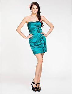 Sheath Column Spaghetti Straps Mini Short Satin Bridesmaid Dress ... b06afc8b4