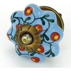 Latin Blue Floral Ceramic Cabinet Knob, Drawer Pull  #Hardware