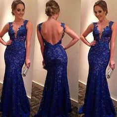 Love this blue lace dress! I was just told my cousin wants all the family to wear a long dress in this shade of blue for her wedding, this one is amazing!