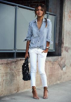White jeans stripes shirt
