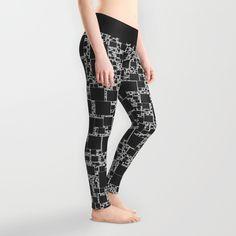 Post It Black Leggings - $39.00  #society6 #leggings #clothing #fashion #girly #black #white #pattern #geometric #squares