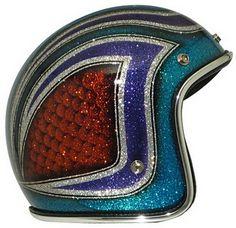 Retro Superflake helmet by brand Bobber Helmets, Retro Motorcycle Helmets, Custom Motorcycle Paint Jobs, Retro Helmet, Pinstripe Art, Helmet Paint, Lace Painting, Custom Helmets, Pinstriping