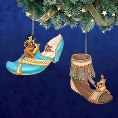Disney's Once Upon a Slipper Ornaments Jasmine & Pocahontas Shoe Figures set 11