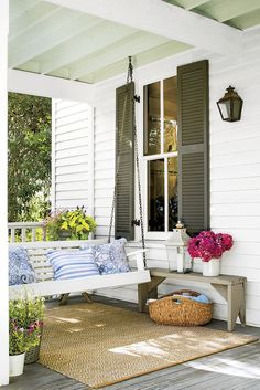Farmhouse Swinging Porch - Tiny Porches and Patios That Are Giving Us Major Inspiration - Southernliving. A swing and small bench are all this Texas Farmhouse porch needs. Farmhouse Porch Swings, Modern Farmhouse Porch, Texas Farmhouse, Farmhouse Front Porches, Small Front Porches, Front Porch Design, Farmhouse Style, Farmhouse Ideas, Modern Rustic