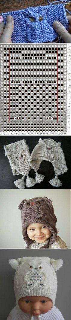 "Knitted pattern ""Owl"" - (E) Strickmuster - Knitting Ideas Owl Knitting Pattern, Knitting Charts, Knitting Stitches, Knit Patterns, Free Knitting, Stitch Patterns, Knitting For Kids, Knitting Projects, Crochet Baby"