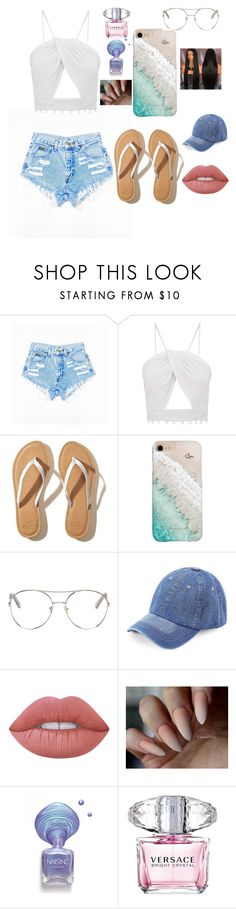 """""""A day walking on the beach"""" by queenjaiya on Polyvore featuring Hollister Co., Gray Malin, Chloé, WithChic, Lime Crime and Versace"""
