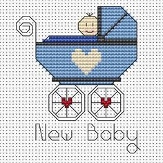 A handmade cross stitch card to celebrate the birth of a bouncing baby boy is incomparable as a gesture.This pattern by Fat Cat Cross Stitch is suit...