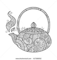 Zen art teapot. Zentangle tea for the adult antistress coloring book on white background. Hand drawn zendoodle. Vector illustration. Adult mandala coloring page teapot.