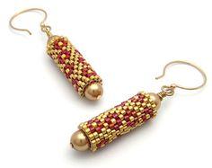 Beaded bead earrings diamond pattern earrings by PembrokeBeadwork