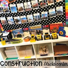 Construction themed centers and activities my preschool & pre-k kiddos will LOVE! (math, letters, sensory, fine motor, & freebies too) Construction Area Ideas, Construction Eyfs, Construction Theme Preschool, Preschool Rooms, Preschool Activities, Preschool Room Layout, Steam Activities, Block Center Preschool, Little Learners
