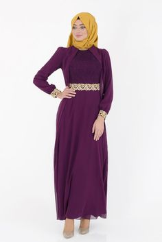 Elegant Abaya With Chiffon Vest - Plum