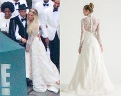 Have not seen a really great photo of this gown designed by Houghton NYC but I love it so far, not sure about the white dinner jackets with the bridesmaids in white with boho hair, seems like two different styles not quite meshing ! ashlee simpson wedding