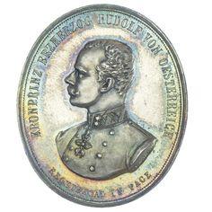 AR Medaille 1889, Med: Radnitzky iun., Av: Büste nach rechts, Rv: Greifen halten das mit Kronen überhöhte Wappen
