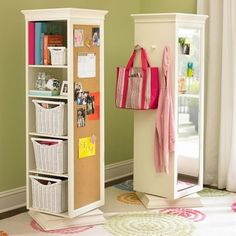 Can totally make this using an Ikea book shelf, an Ikea lazy susan, a cork board and a mirror! going in the closet!