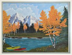 Acrylic Painting Mountain Scene.  All three on one canvas