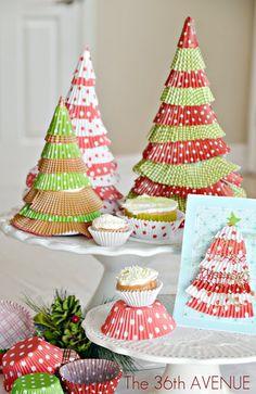 Make Cupcake Liner Christmas Trees {Holiday Tutorial}!!
