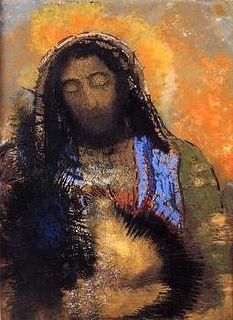 Odilon Redon, Le Sacré-Coeur, en 1910, pastel sur papier chamois, traits d'encadrement à la mine de plomb, H. 0.6 ; L. 0.465, musée d'Orsay,...