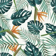 Floral seamless pattern with leaves Premium Vector Pattern Art, Vector Pattern, Pattern Flower, Free Pattern, Tropical Background, Plant Aesthetic, Tropical Wallpaper, Tropical Art, Tropical Pattern
