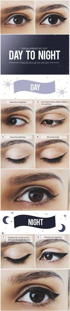 Cat eye, day to night. #beauty #makeup #cateye
