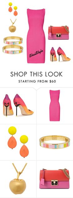 """California vibes"" by shaistyle ❤ liked on Polyvore featuring Sophia Webster, Adrianna Papell, David Aubrey, Kate Spade and Gucci"