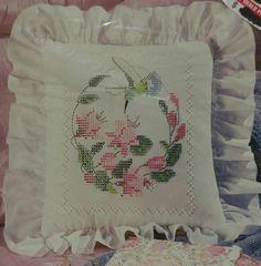 Vintage Bucilla Pillow Hummingbird Colorpoint Cross Stitch Stamped Kit #63928 #Bucilla #Pillow