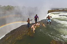 Devil's Pool, Victoria Falls. This is real; you can swim at the edge of a waterfall. I doubt that I could make myself get in, though.
