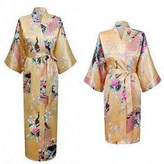 fcc69ba776 2018 New Fashion Silk Satin Robe Floral Bathrobe Short Kimono Dressing Gown  For Women Girl Wedding Bridesmaid Peacock Pajamas