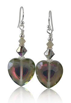 Handmade Sunset Crystal Heart Beaded Earrings