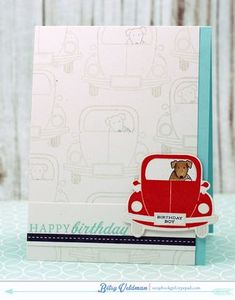 Enjoy The Ride Revisited: Birthday Pup Card by Betsy Veldman for Papertrey Ink (June 2015)