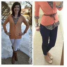 Pinned It and Did It link up is on the blog. Peach cardigan, leopard top, white jeans, brown boots