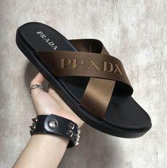 Prada Nylon Band and Leather Criss-cross Sandals - Prada Boots - Ideas of Prada Boots - Prada Nylon Band and Leather Criss-cross Sandals Leather Slippers, Mens Slippers, Leather Sandals, Shoes Sandals, Dress Shoes, Slide Sandals, Fashion Slippers, Fashion Sandals, Prada