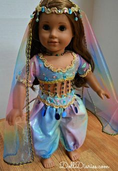 American Girl dolls international costumes | Daydream Doll Boutique Rainbow Genie Costume for Dolls Giveaway