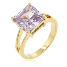 Amethyst Gold Cocktail Ring Princess Cut Cubic Zirconia Purple Size 8 9 10 USA #Cocktail