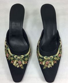 chelsea textiles size 8 floral embroidered black mules shoes kitten heel 225in