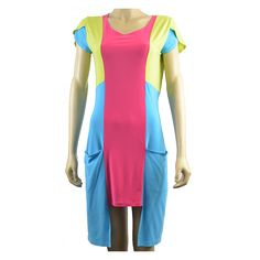 Allegra Dress - Unique eye catchinghourglass shaped colorblocking with pockets &petal sleeves by AVENIR DESIGNS