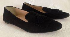 e9e3f8e2ccd J. Crew Darby Italy Tassel Fringe Loafers Flats Black Suede Shoes Women s  SZ 10