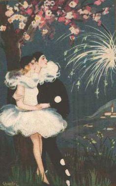 Pierrot and Pierrette Pierrot, Vintage Ephemera, Vintage Art, Image Fruit, Image Halloween, Art Fantaisiste, Cute Clown, Send In The Clowns, Image Nature