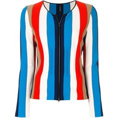 Marc Cain Striped Zip Cardigan ($593) ❤ liked on Polyvore featuring tops, cardigans, blue striped top, zip front top, stripe top, striped top and multi color cardigan