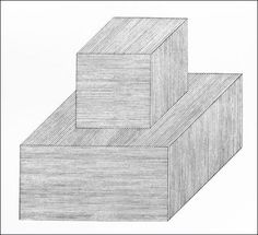 Sol LeWitt, Wall Drawing #353, Outlines of isometric figures. Within each plane are parallel lines in one of three different directions. (Figure d, form derived from a cube), 1981
