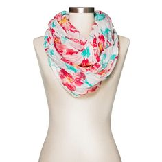 Women's Floral Infinity Scarf Red and Blue - Merona