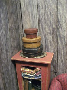 3 Rustic Primitive HAT BOX Shaker Dollhouse by MiniatureCabinDecor, $35.00