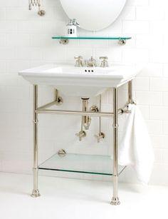 Modern Apothecary Sink Console Loft Jack London Vanity With Shelf Pottery Barn Base Brass Double Bathroom Tiny Bathrooms, Amazing Bathrooms, Small Bathroom, Royal Bathroom, Bathroom Trends, Bathroom Ideas, Bathroom Inspiration, Bath Trends, Bathroom Updates