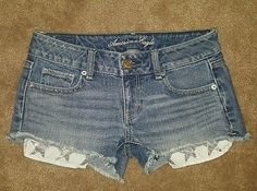 Juniors American Eagle shorts size 0 glitter stars mini short shorts