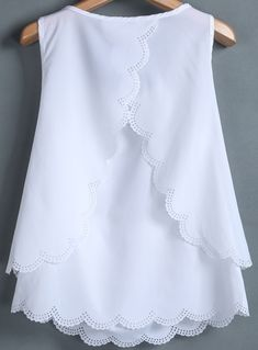 White sleeveless back split chiffon vest sheinside com Blouse Styles, Blouse Designs, Woman Outfits, Kids Outfits, Kids Dress Patterns, Kids Frocks, Frock Design, Baby Girl Dresses, Classy Dress