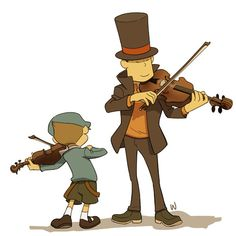 Professor Layton and Luke Triton play the violin. So adorable!