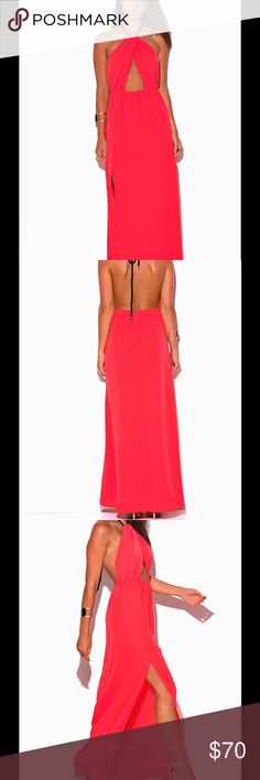 Wow, coral pink maxi dress Coral pink crepe cut out halter maxi dress with high slit and blk rope tie. Backless as shown this is an eye catcher out on the town or out for drinks after the beach.  Glamorous.  Order item, 7 days s/h, chk avail only have 1 in M if available,will fit sz 6-8.  Made in USA.  WF2000CL Dresses Maxi