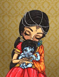 Posing ref: Background: Baby Krishna and mother Yasoda Once upon a time there lived an evil, wicked and ambitious king by name of Kamsa in Mathura. He plundered the kingdom left and right and lawle. Lord Krishna Images, Radha Krishna Pictures, Radha Krishna Photo, Krishna Photos, Krishna Art, Hare Krishna, Krishna Statue, Krishna Drawing, Krishna Painting